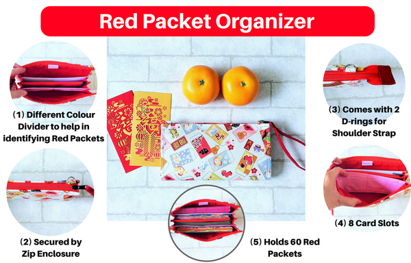SLIM Red Packet Organizer | Ang Pow Organiser | Slim Organiser 70 Red Packets | Slim CNY Design 21B01