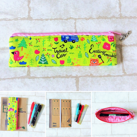 Pencil Pouch Book Band | Pencil Holder | Green Animals Design