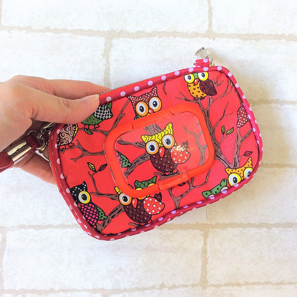 WATERPROOF SLIM WET AND DRY Pocket Tissue Wallet Pouch | WET AND DRY Pocket Tissue Pouch | SLIM Pocket Wet and Dry Owl Design 6B02