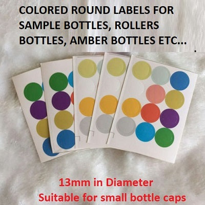A Sheet of 12 Colored Round Labels for Bottles | Essential Oil Bottles | Colored Labels