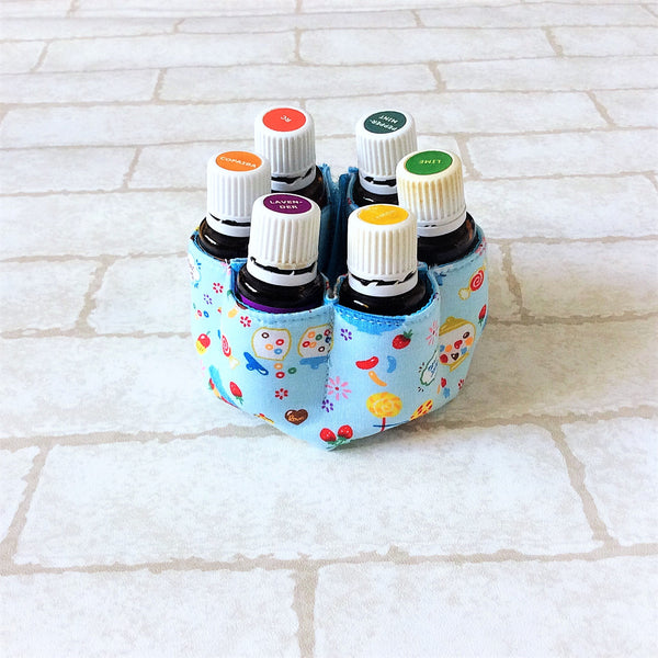 6 Bottles Essential Oil Travel Case | Essential Oil Bottles Fabric Inserts for 6 Bottles | 6EO Inserts Design 1B04