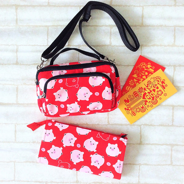 Sling Bag for CNY | Pouch for Red Packets | Handcarry Bag | Girl's Bag | Sling Bag Piggy Design 16B32