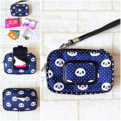 SLIM WET AND DRY Pocket Tissue Wallet Pouch | WET AND DRY Pocket Tissue Pouch | SLIM Pocket Wet and Dry Panda Design 3B05