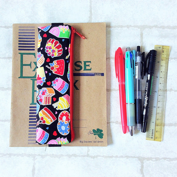 Pencil Pouch Book Band | Pencil Holder | Black Cupcake Design 1