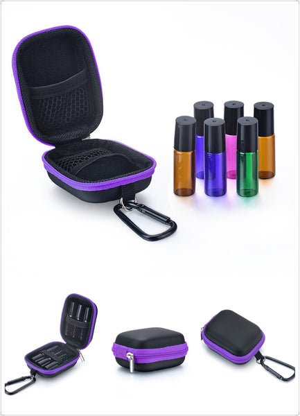 5ML Colored Rollers cum Pouch Bundle | Essential Oil Rollers Travel Pouch | 6 x 5ML Travel Pouch