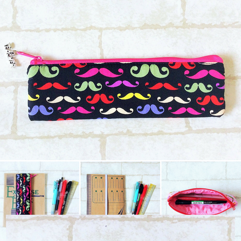 Pencil Pouch Book Band | Pencil Holder | Black Moustache Design 1
