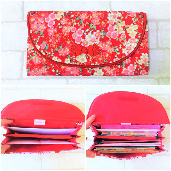 FLAP Ang Bao Organizer |  Pouch for Red Packets | Flap Organiser 50 Red Packets | Flap Floral Design 18B01