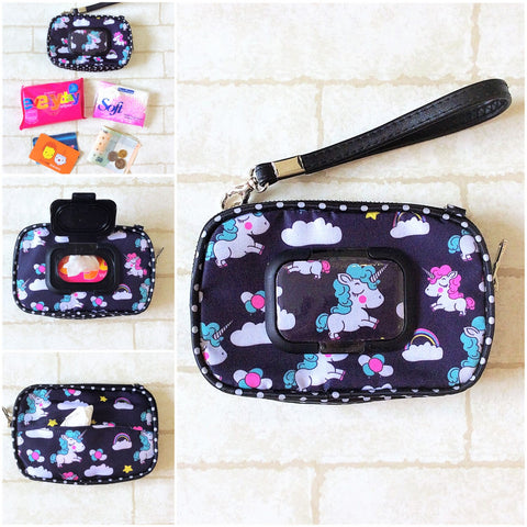 SLIM WET AND DRY Pocket Tissue Wallet Pouch | WET AND DRY Pocket Tissue Pouch | SLIM Pocket Wet and Dry Black Unicorn Design 4B06