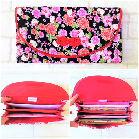 FLAP Ang Bao Organizer |  Pouch for Red Packets | Flap Organiser 50 Red Packets | Flap HK Floral Design 14B16