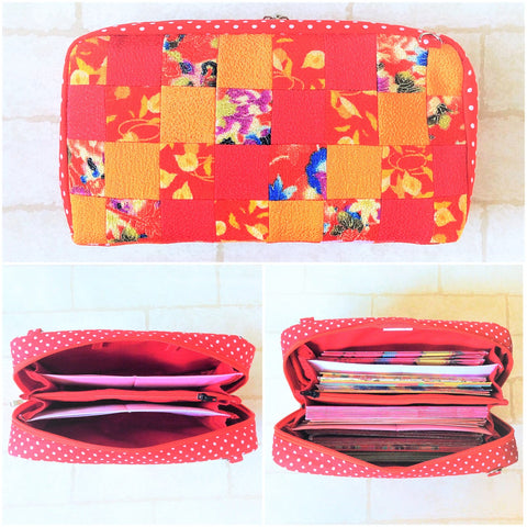 SPACIOUS Hong Bao Organizer | Ang Pao Wallet | Spacious Organizer 100 Red Packets | Spacious Patchwork Design 18B20