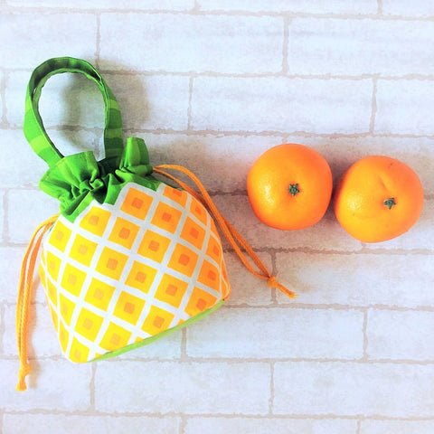 Mandarin Orange Carrier | Carrier for 4 Oranges | Chinese New Year Carrier | Orange Carrier Dark Yellow Pineapple Design 18B33