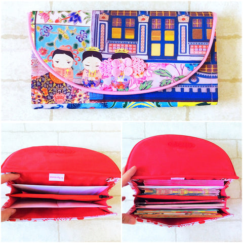 FLAP Ang Bao Organizer |  Pouch for Red Packets | Flap Organiser 50 Red Packets | Flap Peranakan Design 19B20