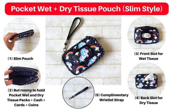 SLIM WET AND DRY Pocket Tissue Wallet Pouch | WET AND DRY Pocket Tissue Pouch | SLIM Pocket Wet and Dry Piggy Design 6B17