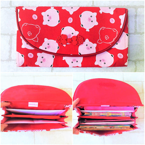 FLAP Ang Bao Organizer |  Pouch for Red Packets | Flap Organiser 50 Red Packets | Flap Pig Design 14B20