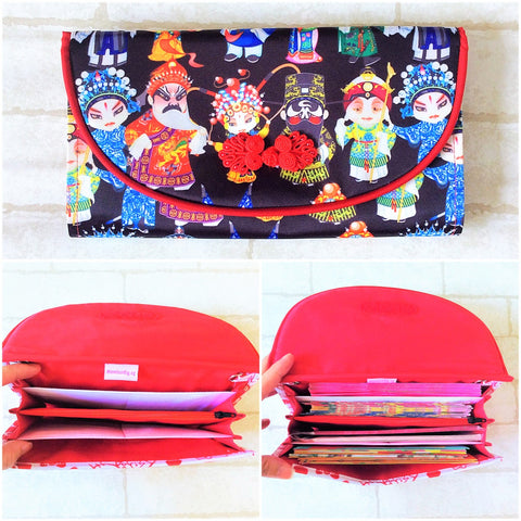 WATERPROOF FLAP Ang Bao Organizer |  Pouch for Red Packets | Flap Organiser 50 Red Packets | Flap Wayang Design 16B22