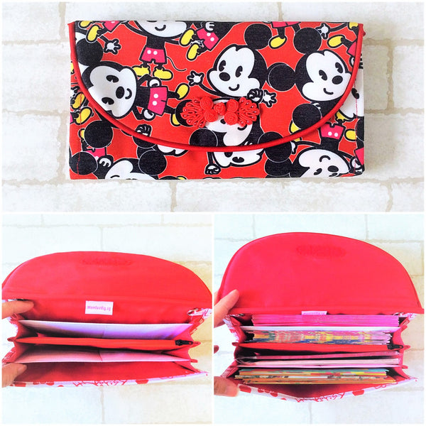 FLAP Ang Bao Organizer |  Pouch for Red Packets | Flap Organiser 50 Red Packets | Mickey Mouse Design 21B22