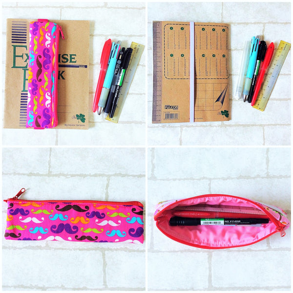 Pencil Pouch Book Band | Pencil Holder | Pink Moustache Design