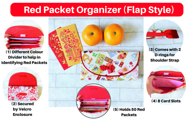 FLAP Ang Bao Organizer |  Pouch for Red Packets | Flap Organiser 50 Red Packets | HK Design 15B02