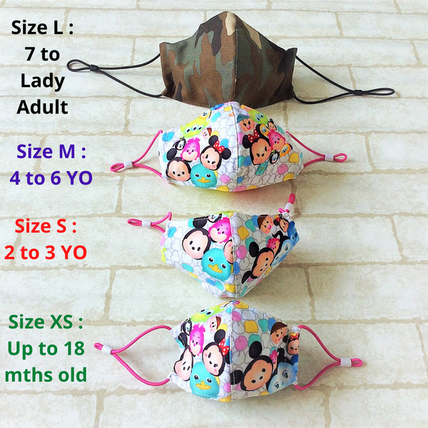KIDS SIZE (Up to 6 YO) : HANDMADE MASK READY STOCK | FREE 10 PIECES OF FILTER | Design 2B45