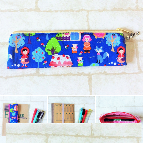 Pencil Pouch Book Band | Pencil Holder | Red Riding Design (Blue)