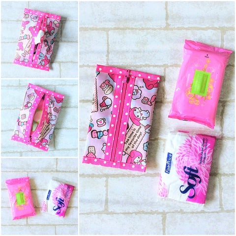 Waterproof 2 sided Wet and Dry Tissue Pouch (Pocket Size) | Pocket Tissue Pouch My Melody Design 9B05