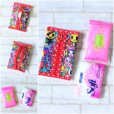 Waterproof 2 sided Wet and Dry Tissue Pouch (Pocket Size) | Pocket Tissue Pouch TKDK Design 9B06