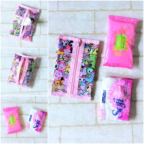 Waterproof 2 sided Wet and Dry Tissue Pouch (Pocket Size) | Pocket Tissue Pouch TKDK Design 9B07