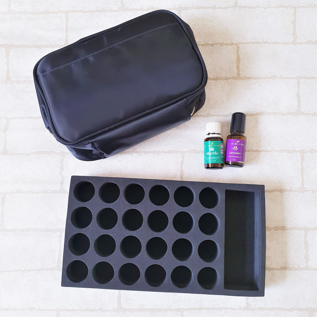 2 PCS Essential Oil Storage Bundle Deal | Oil Essentials Bundle Deal | Essential Oil Pouch | Oil Foam | Elegant Black Design