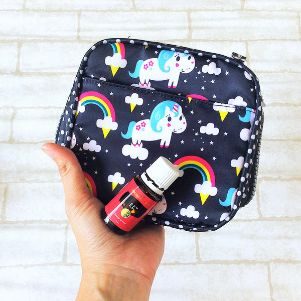 Essential Oil Bottle Travel Pouch | 8 Bottle Essential Oil Pouch | 12 Bottle Essential Oil Pouch | Unicorn Design