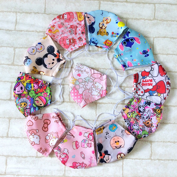 ADULT AND KIDS SIZE : WATERPROOF HANDMADE MASK READY STOCK | Design 2B56