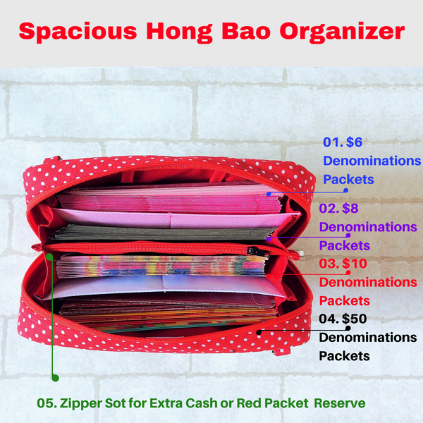 SPACIOUS Hong Bao Organizer | Ang Pao Wallet | Spacious Organizer 100 Red Packets | Spacious Poker Cards Design 19B07