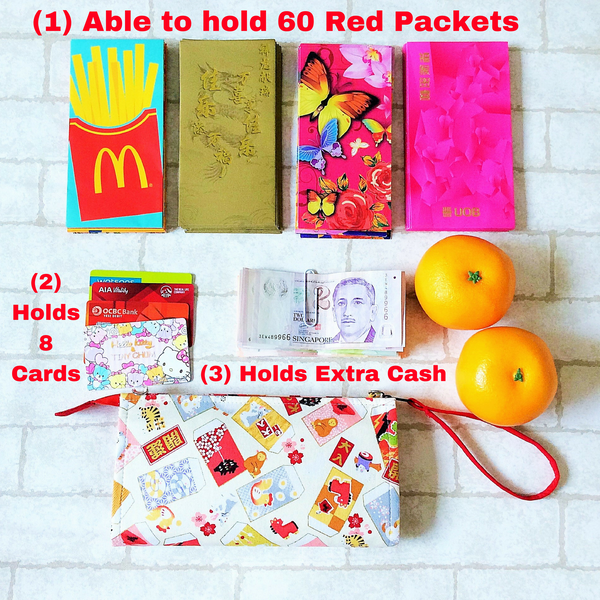 SLIM Red Packet Organizer | Ang Pow Organiser | Slim Organiser 70 Red Packets | Slim Fortune Cat Design 18B09