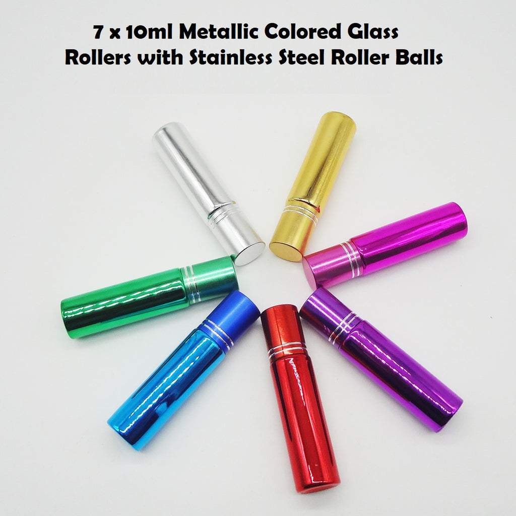 Set of 7 x 10ML Metallic Colored Bottles with Stainless Steel Rollers Balls | 10ml Stainless Steel Roller Set | Thick Glass Roller bottles with Stainless Steel roller balls