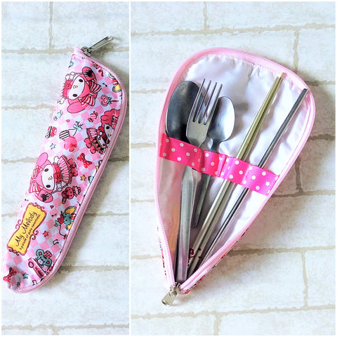 Waterproof Cutlery Travel Pouch  | Cutlery Organiser Pouch | Cutlery Pouch My Melody Design 1B02