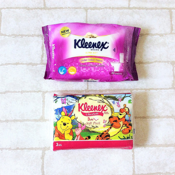 Kleenex WET AND DRY Tissue Holder | Kleenex Tissue 2in1 Pouch | Kleenex Wet and Dry Pink Ballerina Design 8B11