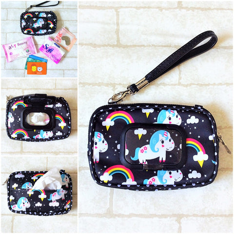 SLIM WET AND DRY Pocket Tissue Wallet Pouch | WET AND DRY Pocket Tissue Pouch | SLIM Pocket Wet and Dry Unicorn Design 3B01