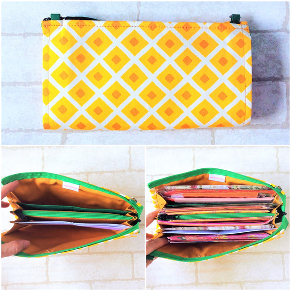 SLIM Red Packet Dark Yellow PA Organizer | Ang Pow Organiser | Slim Organiser 70 Red Packets | Slim Dark Yellow Pineapple Design 20B15