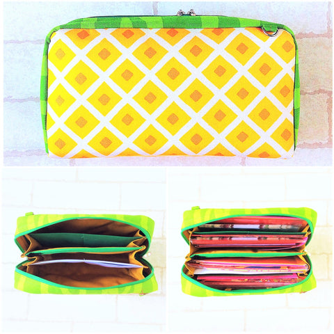 SPACIOUS Hong Bao Organizer Dark Yellow Pineapple | Ang Pao Wallet | Spacious Organizer 100 Red Packets | Spacious Dark Yellow Pineapple Design 20B26