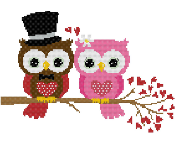 Wedding Owl Cross Stitch Pattern 01 - MomLuvDIY.SG - 2