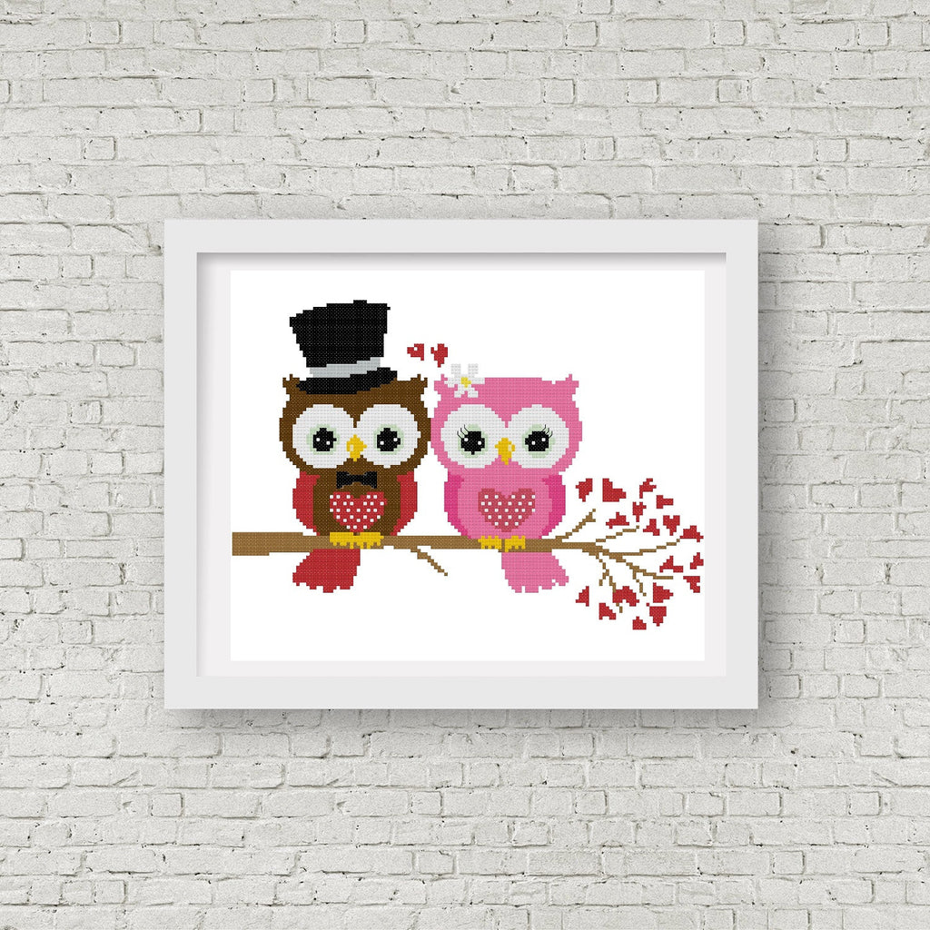 Wedding Owl Cross Stitch Pattern 01 - MomLuvDIY.SG - 1