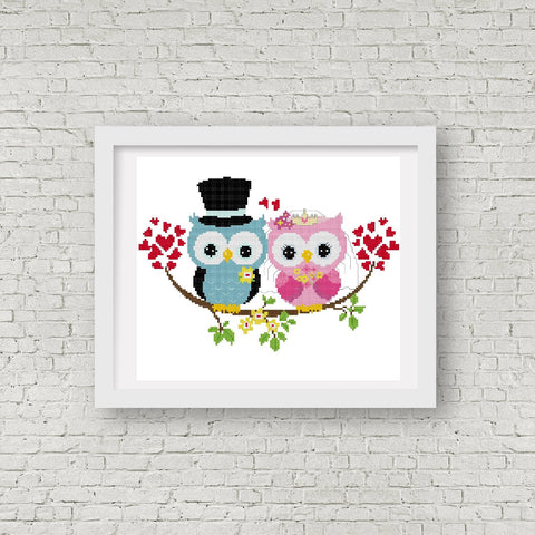 Wedding Owl Cross Stitch Pattern 02 - MomLuvDIY.SG - 1