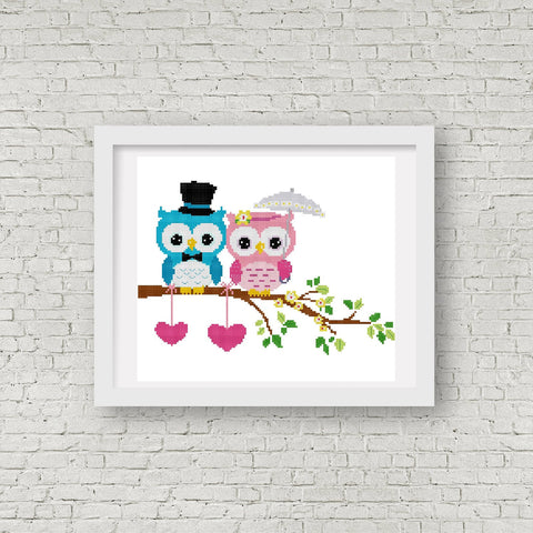 Wedding Owl Cross Stitch Pattern 03 - MomLuvDIY.SG - 1