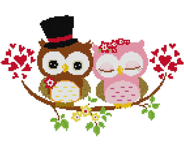 Wedding Owl Cross Stitch Pattern 04 - MomLuvDIY.SG - 2