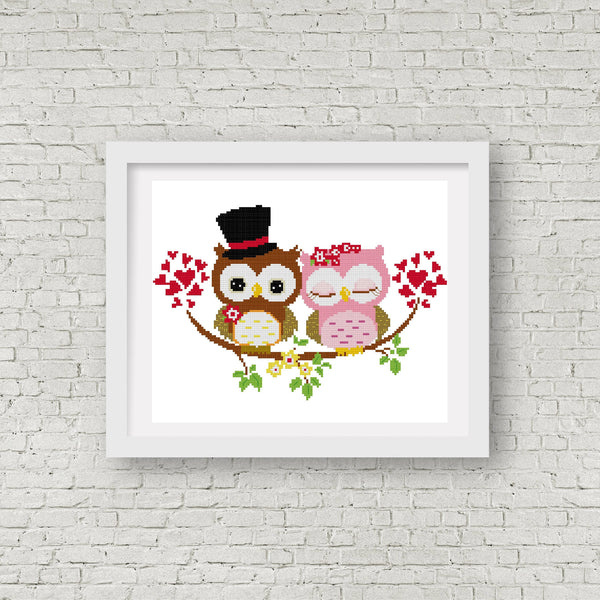 Wedding Gifts For Couples In Singapore : Home ? WEDDING GIFT IDEAS ? Wedding Owl Cross Stitch Pattern 04