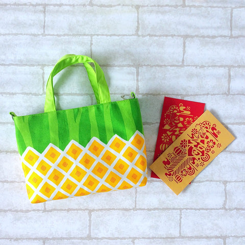 CNY Bag for House Visits | CNY Bag to put Red Packets | Handcarry Bag | Girl's Bag | CNY Bag Dark Yellow Pineapple Design 20B28