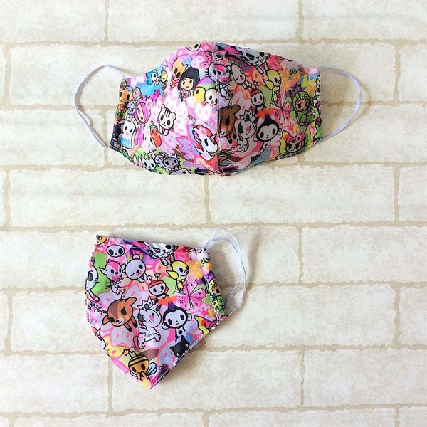 ADULT AND KIDS SIZE : WATERPROOF HANDMADE MASK READY STOCK | Design 2B61
