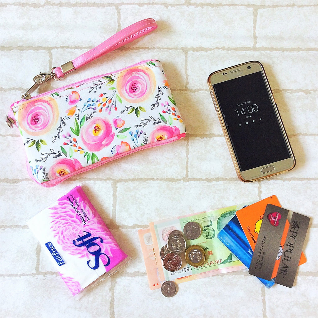 Smartphone Multi-Pocket Pouch | Smartphone Cotton Rose Design 1B03