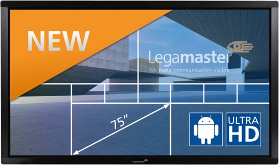 The E-Screen ETX-7500UHD black interactive touch monitor put you in complete control of your presentation.That's because our e-Screens are equipped with highly accurate, multi-touch sensor technology that allows multiple users to use the screens simultaneously. This legamaster e-Screen can be operated using your finger or a stylus.