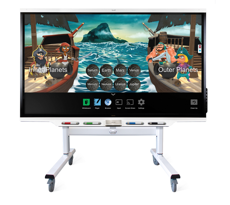 "The SMART Board FSE-300 electric height-adjustable mobile stand is compatible with entire line of SMART Board displays in North America. Featuring 20 3/4"" (52.7 cm) of powered height adjustment with a safety bounce-back feature that reverses direction briefly when an obstruction is detected."