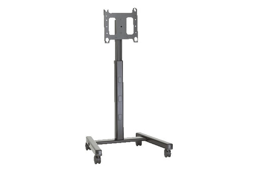 Move your 58, 65, or 75-inch InFocus display around the room or around the building with this mobile cart on wheels. One person can easily adjust the height, and cables can be hidden for a clean look.